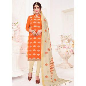 Orange Casual Wear Banarasi Jacquard Salwar Suit