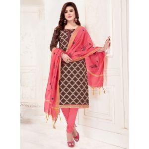 Brown Casual Wear Banarasi Jacquard Salwar Suit