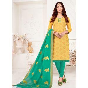 Yellow Casual Wear Banarasi Jacquard Salwar Suit