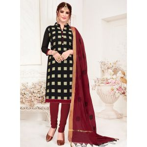 Black Casual Wear Banarasi Jacquard Salwar Suit