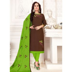 Brown color Embroidery Cotton Salwar Suit