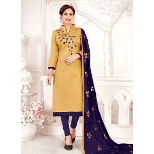 Cream color Embroidery Cotton Salwar Suit