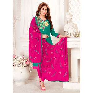 Green color Embroidery Cotton Salwar Suit