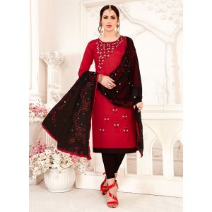 Red color Embroidery Cotton Salwar Suit