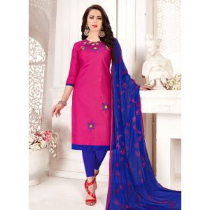 Pink color Embroidery Cotton Salwar Suit