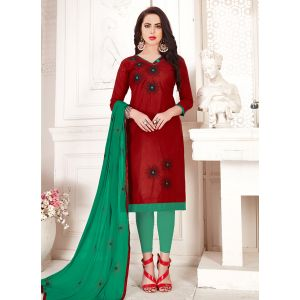 Maroon color Embroidery Cotton Salwar Suit