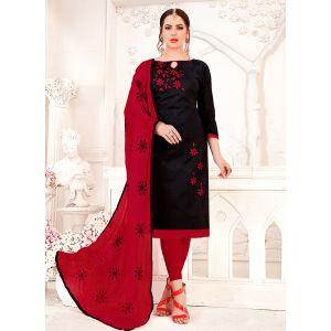 Black color Embroidery Cotton Salwar Suit