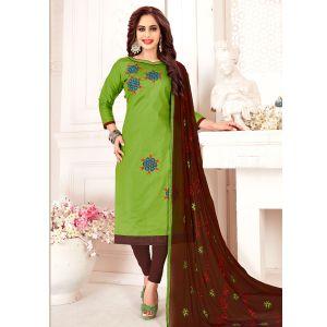 Light Green Embroidery Cotton Salwar Suit