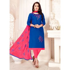 Blue color Embroidery Cotton Salwar Suit