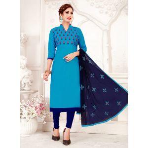 Designer Sky Blue Glass Cotton Salwar Suit