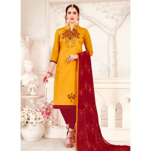 Yellow color Embroidery Cotton Salwar Suit