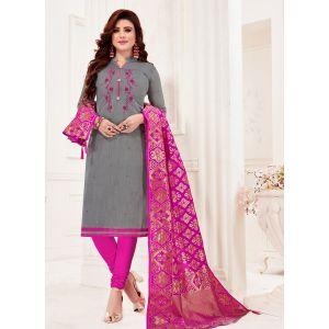 Grey Color Cotton Flex Straight Salwar Suit