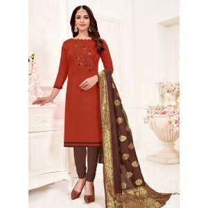 Maroon Color Cotton Flex Straight Salwar Suit