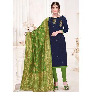 Navy Blue Color Cotton Straight Salwar Suit