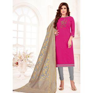 Pink Color Cotton Flex Straight Salwar Suit