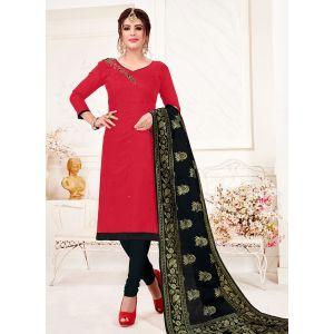 Red Color Cotton Flex Straight Salwar Suit