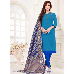 Sky Blue Color Cotton Straight Salwar Suit