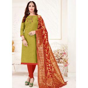 Mehendi Color Cotton Flex Casual Salwar Suit