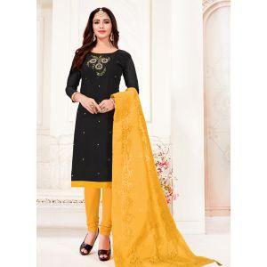 Black Color Cotton Flex Straight Salwar Suit