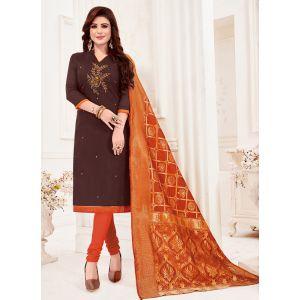 Dark Brown Color Cotton Straight Salwar Suit