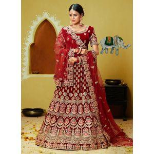 Elegance Party Wear Velvet Lehenga Choli