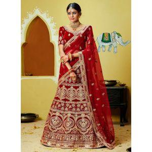 Dazzling Party Wear Velvet Lehenga Choli