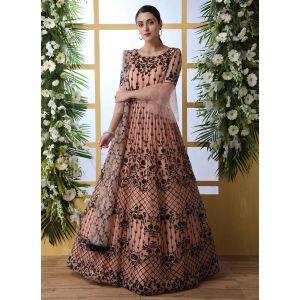 Designer Peach color Net Aanarkali Long Gown