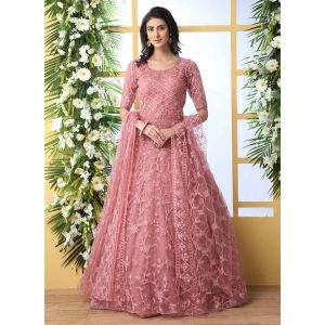 Designer Dusty Pink Net Aanarkali Long Gown