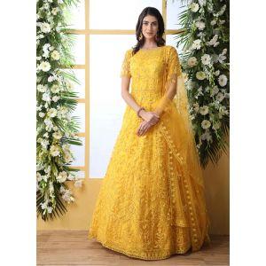 Designer Yellow color Net Aanarkali Long Gown