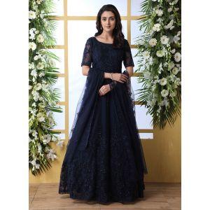 Designer Navy Blue Net Aanarkali Long Gown