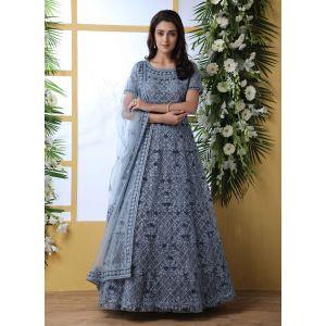 Designer Grey color Net Aanarkali Long Gown