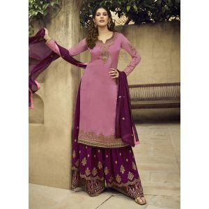Marvelous Rose Pink Satin Georgette Sharara Suit