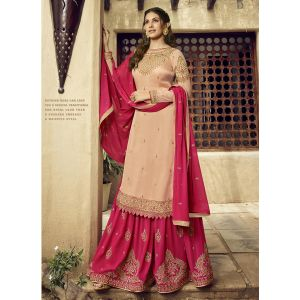 Tranquil Cream Color Satin Georgette Sharara Suit