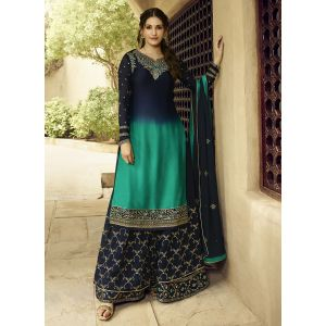 Unique Blue and Green Satin Georgette Sharara Suit