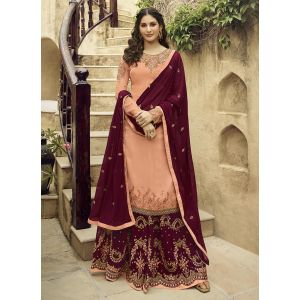 Effective Peach Color Satin Georgette Sharara Suit
