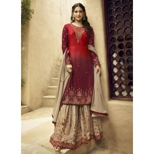 Fancy Red and Maroon Satin Georgette Sharara Suit