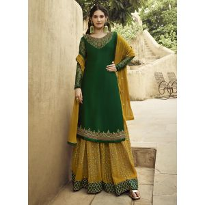 Tranquil Green Color Satin Georgette Sharara Suit