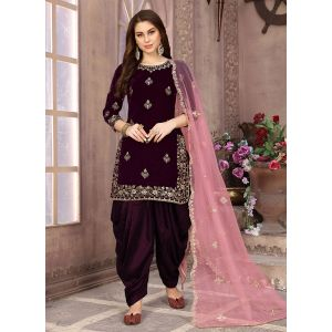 Designer Party Wear velvet Patiyala Suit