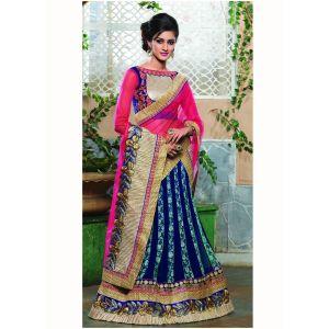 Blue color Designer Lehnga Choli-Jacquard Lehenga Choli