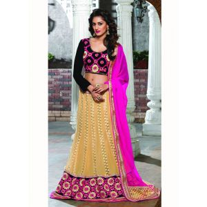 Brown color Designer Lehnga Choli-Georgette Lehenga Choli