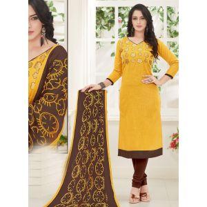 Yellow color Casual Salwar Kameez-Cotton Salwar Kameez