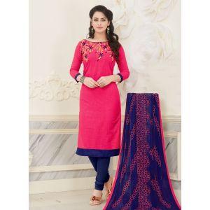 Pink color Casual Salwar Kameez-Cotton Salwar Kameez