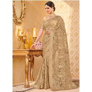 Gold color Designer Saree-Net Embroidered Saree