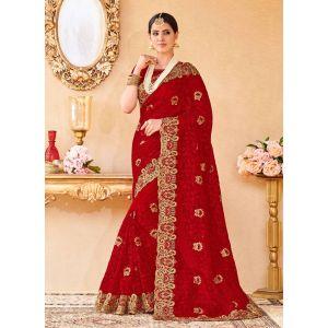 Red color Designer Saree-Net Embroidered Saree