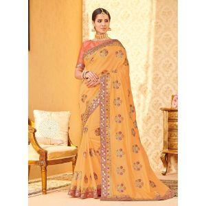 Yellow color Designer Saree-Chiffon Embroidered Saree