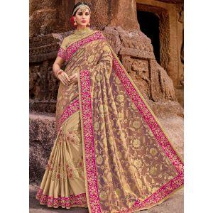 Beige color Designer Saree-Other Embroidered Saree