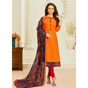 Orange color Casual Salwar Kameez-Cotton Salwar Kameez