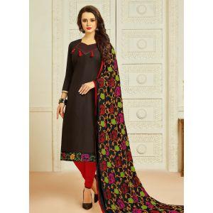 Black color Casual Salwar Kameez-Cotton Salwar Kameez