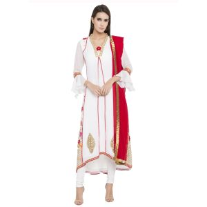 White color Party Wear Rmd Salwar-Georgette Salwar Kameez