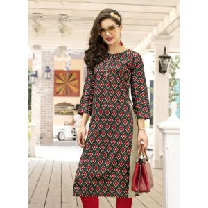 Red and Multicoloured color Formal-Cotton Ready Made Kurti